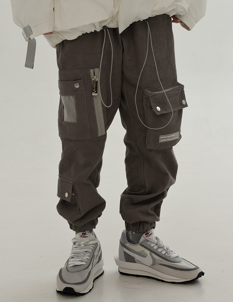 Harsh and Cruel Corduroy Cargo Pants - Grey