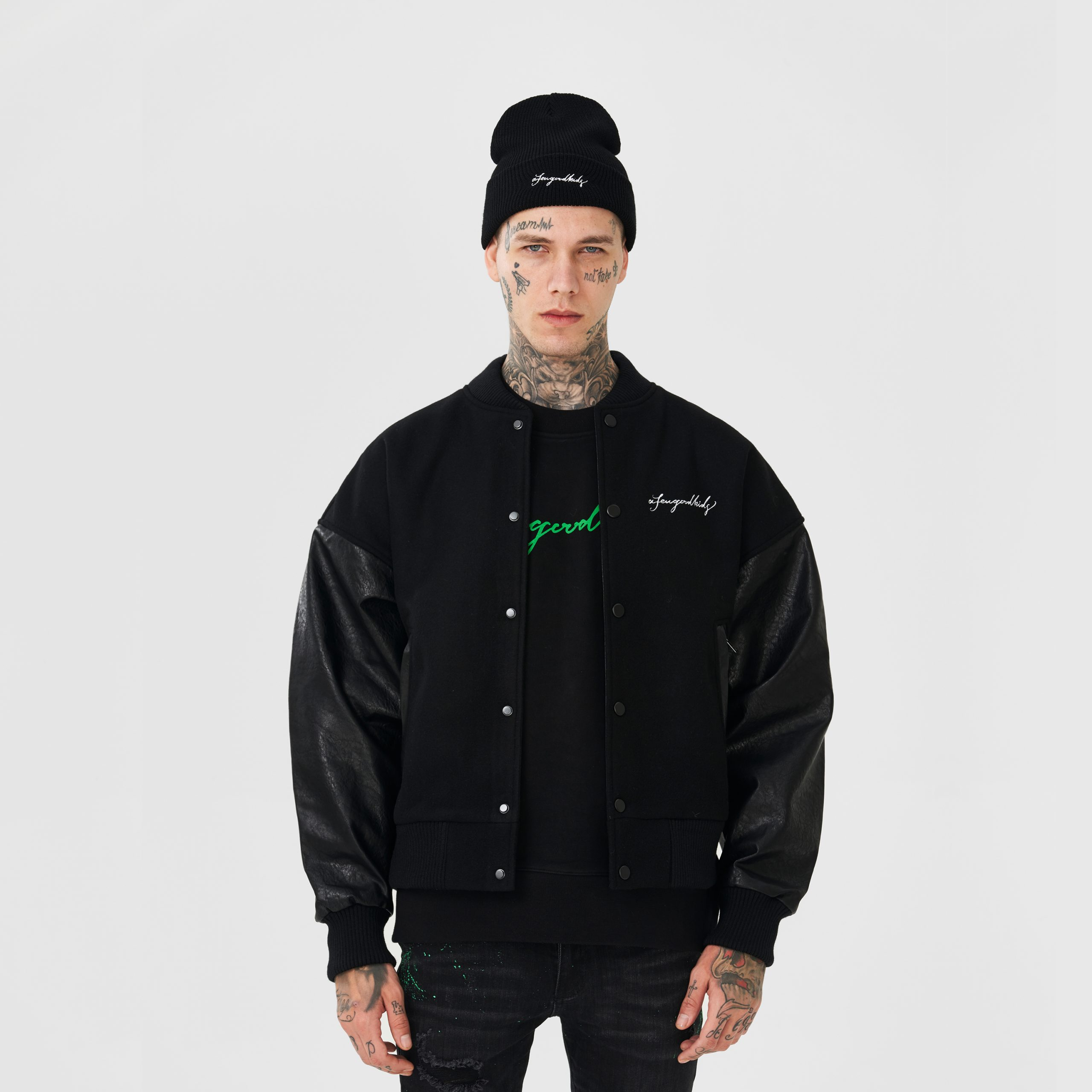 AFGK A Few Good Kids Ma Siwei Hip Hop Streetwear 3D Rhinestone Bomber Varsity Jacket