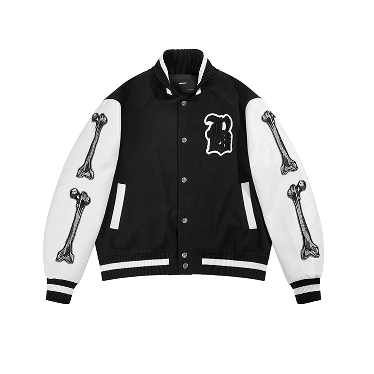 Boneless Bones Black Varsity Jacket Hip Hop Streetwear