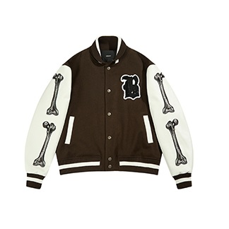 Boneless Bones Brown Varsity Baseball Jacket