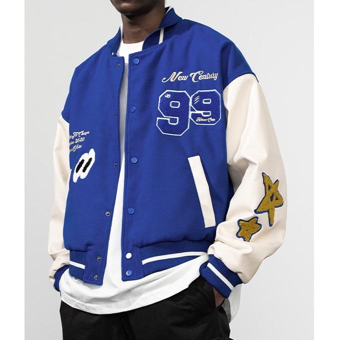 Harsh and Cruel Blue Letterman Varsity Jacket Streetwear Hip Hop