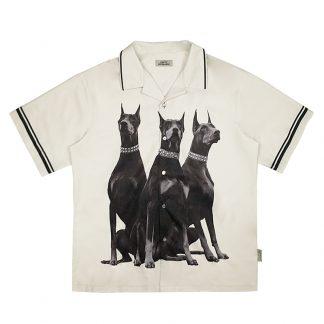 Empty Reference WHite Doberman Graphic Print Streetwear Cuban Shirt