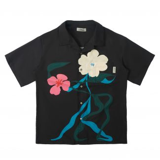 Empty Reference Streetwear Cuban Shirt Tailored Flower Print Graphic