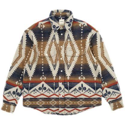 Son of Loong Flannel Japanese Streetwear Wool Shirt Heavy Ethnic Weave Retro Pendleton