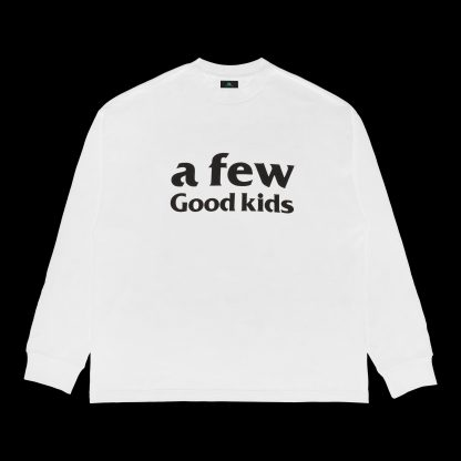 A Few Good Kids Long Sleeved Logo T-Shirt in White, Hip Hop, Rap, Streetwear