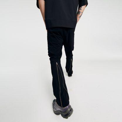 Nosucism Flared Hourglass Back Zip Adjustable Techwear Pants Trousers