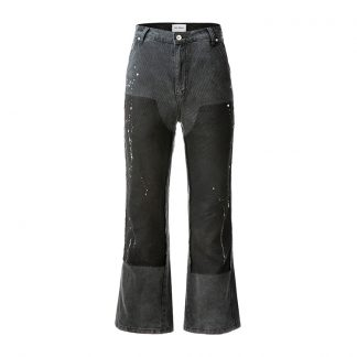 Old Order Micro Flared Paint Splattered Tooling Work Pants - Streetwear