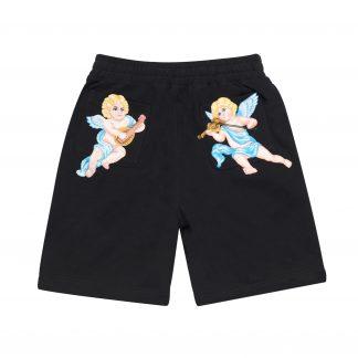 """AFGK """"A Few Good Kids"""" Black Sweat Shorts Angel Embroidery Streetwear"""