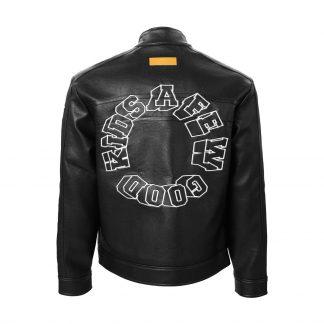 A Few Good Kids Black PU Leather Biker Jacket with 3D Logo