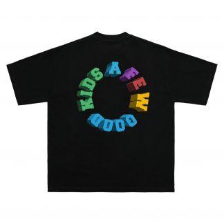 A Few Good Kids AFGK Streetwear 3D Rainbow Logo T-Shirt in Black