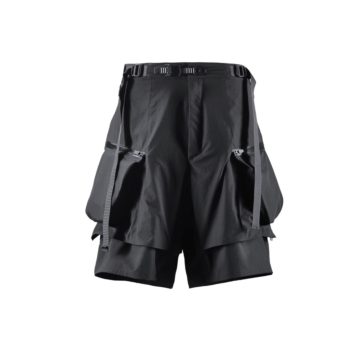 Reindee Lusion Black 3D Molle Expansion Techwear Cargo Shorts