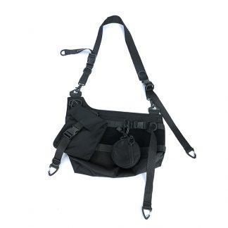 Tactical Black Techwear Sling Bag - Black Strap