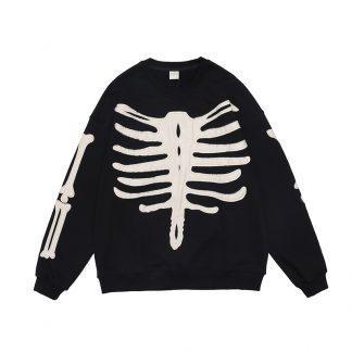 Black Blk Tlr Black Tailor Embroidery Bones Streetwear Sweater
