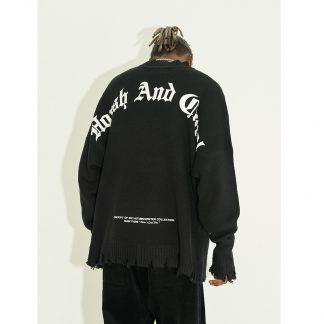 Harsh and Cruel Raw Hem Streetwear Logo Knit Sweater