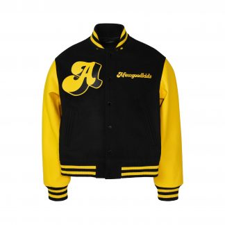 A Few Good Kids Black and Yellow PU Leather Bomber Varsity Jacket - Streetwear Hip Hop Rap Unisex