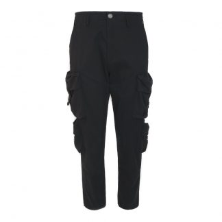 Gremade Homme Black Streetwear Double Pocket Cargo Pants